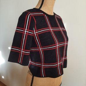 Tahari Knit Plaid Crop Top